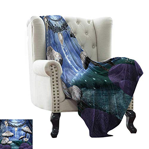 Littletonhome Super Soft BlanketsAbstract Dreamlike Forest Scenery at Night with Mushrooms Pixie Dust and Bubbles Sofa Chair 54