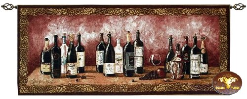 (Beautiful Wine Bottles Fine Tapestry Jacquard Woven Wall Hanging Art Decor)
