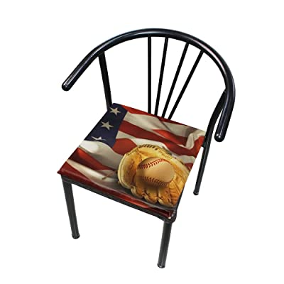 """HNTGHX Outdoor/Indoor Chair Cushion American Flag Baseball Square Memory Foam Seat Pads Cushion for Patio Dining, 16"""" x 16"""": Home & Kitchen"""