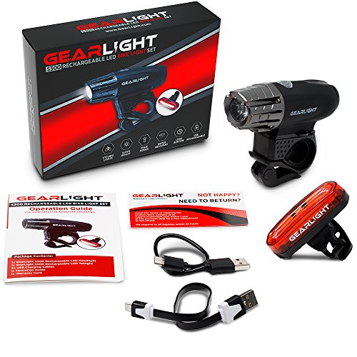 GearLight S300 Rechargeable LED Bike Light Set - High Lumen Front and Back Rear Cycling Safety Lights - Best All-Weather USB Headlight and Tail Light for Kid and Adult Bicycles by GearLight (Image #1)