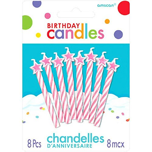 Spiral Star-Tipped Birthday Candles | Pink | Party Supply ()