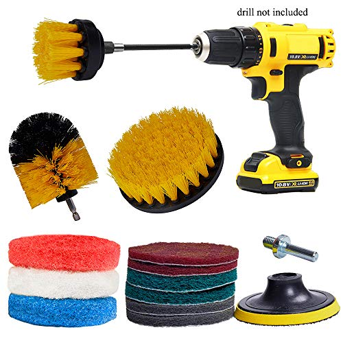 GIB cleaningtool Power Scrubber Drill Brush Kit Replacement Scrub Pads Scouring Pads for Bathroom, Grout, Shower, Tub, Floor, Tile, Corners and Kitchen Surfaces 14PCs