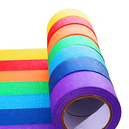 Colored Masking Tape - 7 Pieces Colored Masking Tape Rainbow Masking Tape Labelling Tape Graphic Art Painters Tape Roll for Fun for Arts DIY, Home Decoration, Office Supplies