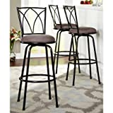 Delta Adjustable Metal Barstools, 3-Piece Set, Black
