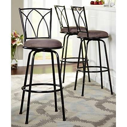 Delta Adjustable Metal Barstools, 3 Piece Set, Black