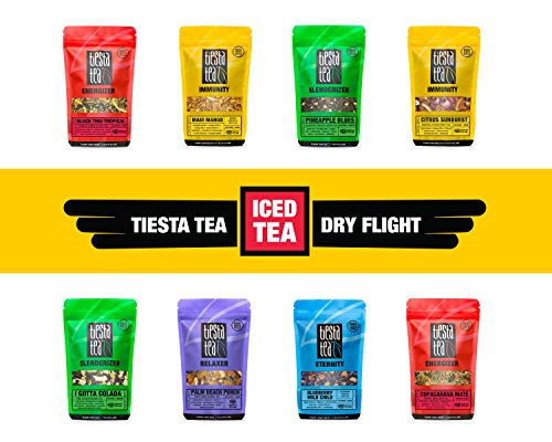 ICED TEA Dry Flight Sampler by TIESTA TEA | 8 Loose Leaf Tea Blends Perfect for Iced Tea | 8 to 12 Servings of Each Flavor | GIFT - Maui Ginger Blue