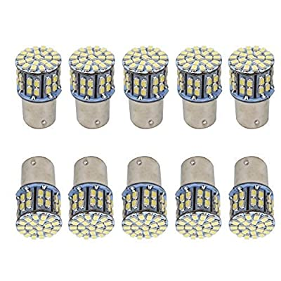 WFLNHB 10Pack Super Bright 6000K White 1157 BAY15D 7528 1016 1034 50-SMD 1206 LED Bulbs Car Rear Turn Signal Lights Interior RV Camper Parking Light Bulb 12V: Automotive