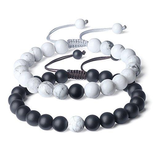 AmorWing Semi Precious Stones Onyx Howlite Yin Yang Mala Beads Relationship Bracelet
