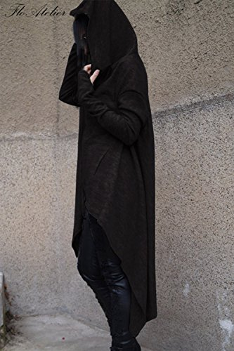 La Mujer Es Elegante De Manga Larga Con Capucha Alta Baja Hanky Hem Irregular Pockt Sudadera Black