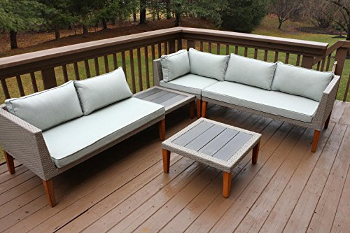 Oliver Smith - Large 5 Pc Modern Rattan Wiker Sectional ...