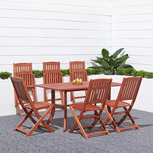 Malibu V189SET7 Eco-Friendly 7 Piece Wood Outdoor Dining Set