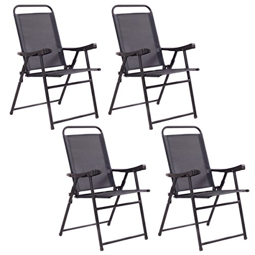 Giantex Set Of 4 Folding Sling Chairs Patio Furniture Camping Pool Beach With Armrest (Plastic Patio Arm Chair)