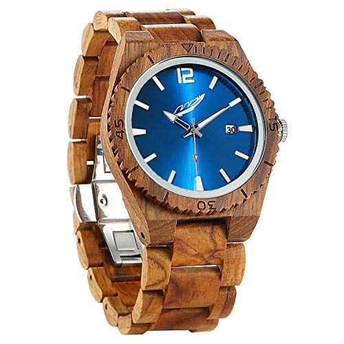Wilds Wood Watches for Men - with Date Display - Minimalist Collection Analog Wooden Wrist Watch with Premium Japanese Quartz Movement - Lightweight, Stylish, Durable - Men Gift Ideas …
