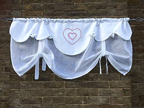 White Linen Tie Up Valance Curtain Window Topper Toggle Pompom Red Heart Embroidery