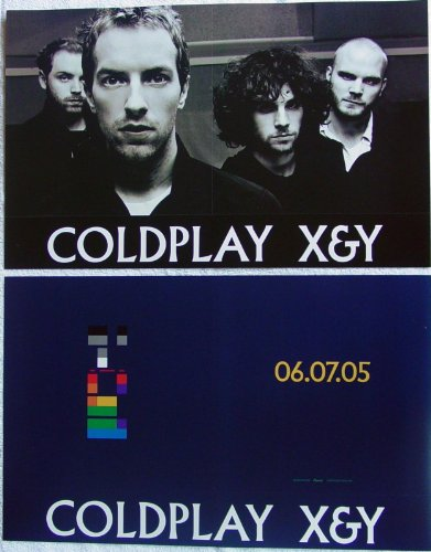 Coldplay - X&Y - Two Sided Poster - Rare - New - Chris Martin - Jon Buckland - Will Champion - Guy Berryman - White Shadows - Fix You - Speed Of Sound - The Hardest Part - X & Y - And -  Capitol