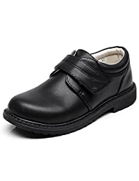 rismart Boys' Hook&Loop Formal Prince Round Toe Oxfords Dress Shoes