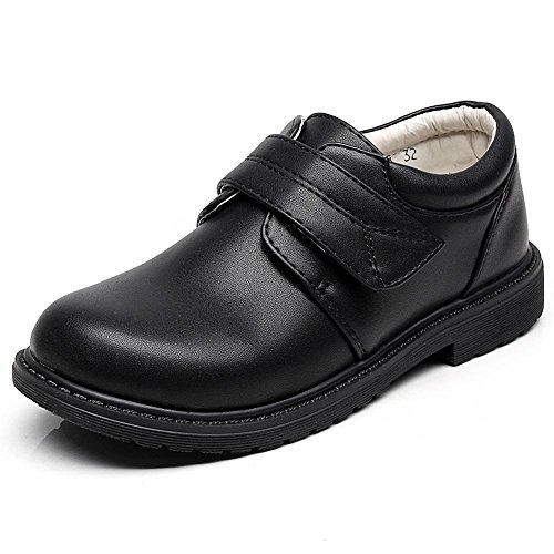 rismart Boys' Hook&Loop Formal Prince Round Toe Oxfords Dress Shoes 80015C(Black,13 M US Little Kid)