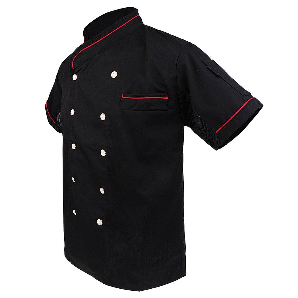 MonkeyJack Unisex Quality Chef Jacket Short Sleeve WITH PEN POCKETS Chefwear Coat Mesh Back