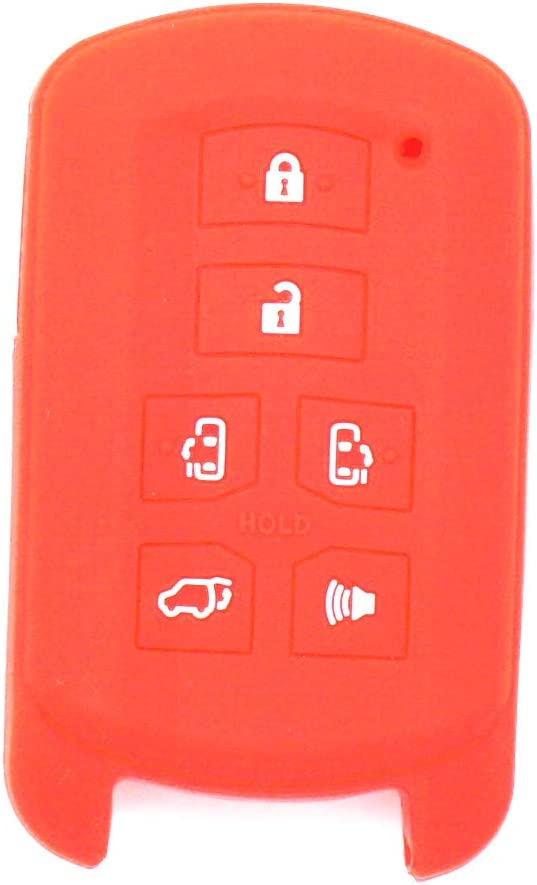 WFMJ 2Pcs Black Red Silicone Smart 6 Buttons Remote Key Case Cover Chain for 2011-2017 Toyota Sienna