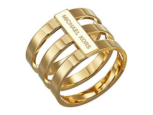 Michael Kors Women's Tri Stack Open Pave Bar Gold 6 (Michael Kors Rings Size 6)