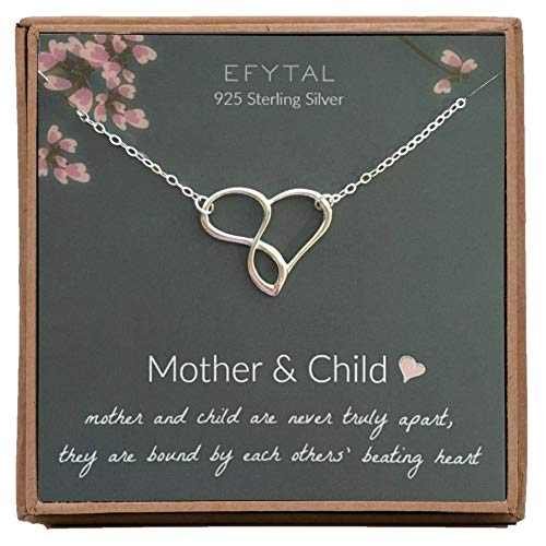 Mother Child Heart Necklace - EFYTAL Mom Gifts, 925 Sterling Silver Infinity Heart Necklace for Mother & Child, Daughter or Son, Mom Necklaces for Women, Best Birthday Gift Ideas, Pendant Mother's Day Jewelry For Her, Mothers Day