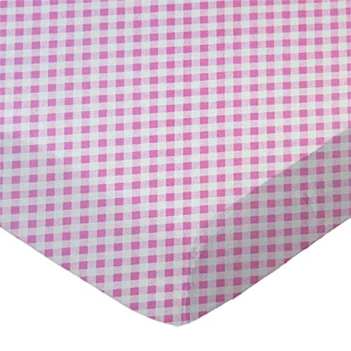 (SheetWorld Fitted 100% Cotton Percale Cradle Sheet 18 x 36, Pink Gingham Check, Made in USA)