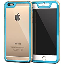iPhone 6s Plus Case, Apple iPhone 6s Plus, rooCASE [Gelledge] 360 Complete Coverage Full Body Slim Fit Protective [Clear Back Panel] [3H Built In Screen Protector] Cover Case iPhone 6 - Blue