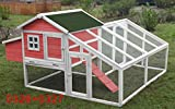 70'' Wooden Chicken Coop Hen House Rabbit Hutch Big Backyard Pet Cage 6010-0326P/6010-0327 (6010-0326P+6010-0327)