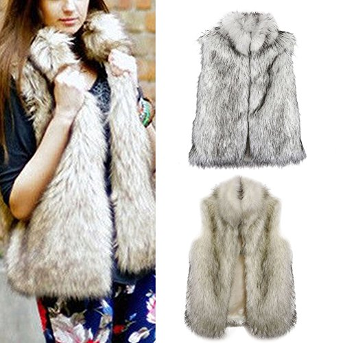 EXIU - Abrigo - chaqueta - Sin mangas - para mujer blanco