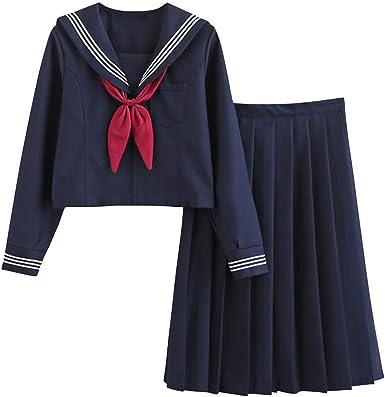 FENIKUSU - Disfraz de uniforme de colegiala japonesa de manga larga para mujer, color azul marino, falda larga de marinero 19B - Azul - X-Large: Amazon.es: Ropa y accesorios