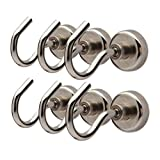toolbox refrigerator - XL Heavy Duty 40 lbs Strong Neodymium Magnetic Hooks (Silver (Pack of 6))