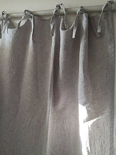 Cheap Linen Top Tie Curtain Panel – Natural Linen Oatmeal/White/Grey Colors
