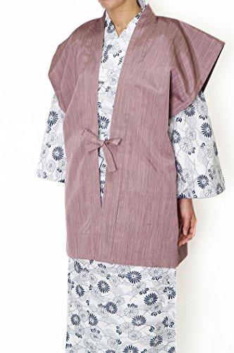 抑圧するコンテスト新しい意味茶 羽織 袖無-先染め 日本製