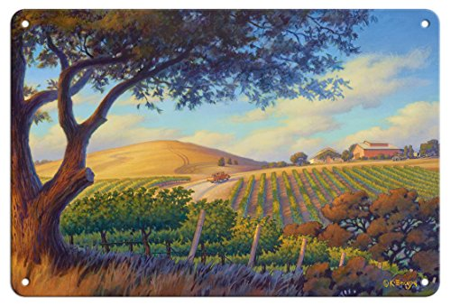 Pacifica Island Art 8in x 12in Tin Sign - Oak Valley Vineyards by Kerne Erickson ()
