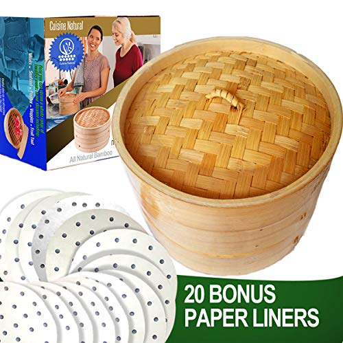 """10"""" Bamboo Steamer/ 2 Tiers & Lid by Cuisine Natural -Incl. 20 Bonus Liner Papers 