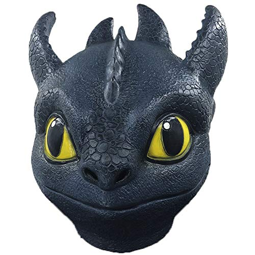 How to Train Your Dragon Toothless Night Fury Head Mask Dinosaur Costume Latex Mask Navy Blue]()