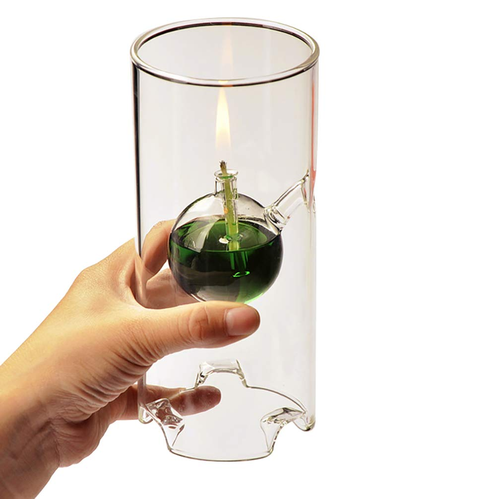 UGUAX Refillable Oil Lamp Transcend Clear Glass Unscented Pillar Candle Long Lasting Tea Lights Unique Gift 1 Set//3 Size