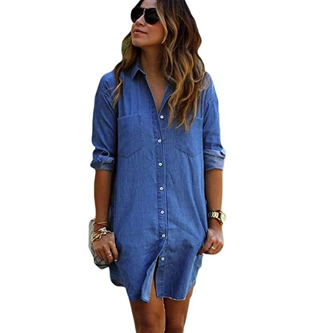 09c9f30ab COSYOU Women Long Sleeve Casual Denim Button Down Shirt Dress Club Party Jeans  Dress (Blue