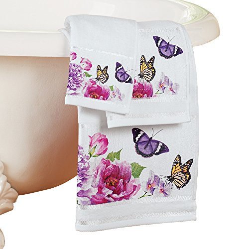 Collections Etc Butterfly Watercolor Floral White 3pc. Spring Summer Bathroom Towel Set
