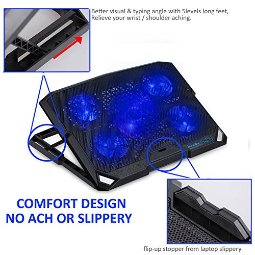 ThreeLeaf@T200K2 10-16inch Laptop Cooling Pad (5Fans Location Coverage and Whisper Quiet, Power/LED Switch and 5Levels Feet Stand) by ThreeLeaf (Image #5)