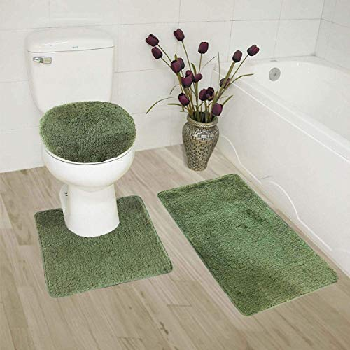 - 3pc Bath Rug Set for Bathroom Non Slip Bath Mat, Contour Mat & Toilet Lid Cover Solid New (Sage)