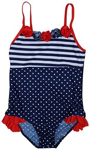Real Love Girls' 2-Pack One Piece Swimsuit (Little Girls/Big Girls), Polka Dots, Size 7-8' by Real Love (Image #1)