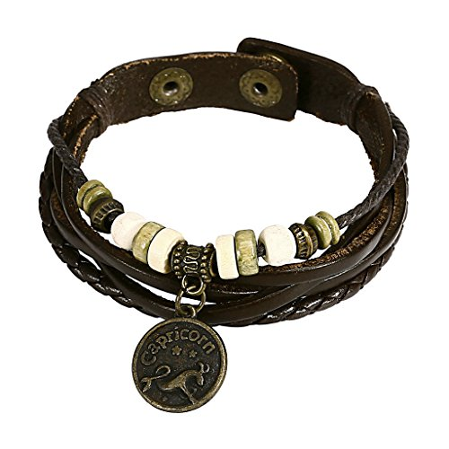 Dr Who Costumes Nz (Adisaer Womens Mens Leather Bracelets Gold Plated Constellation Zodiac Sign Capricorn 8 IN)