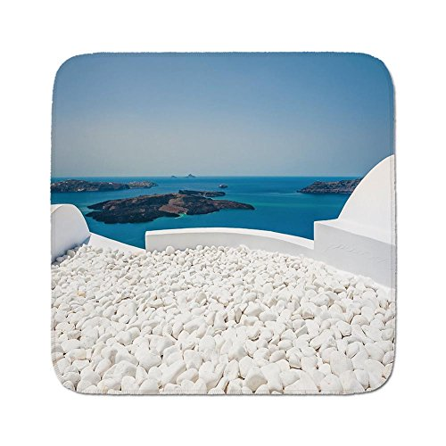 (Cozy Seat Protector Pads Cushion Area Rug,Travel Decor,Hotel with White Stones Santorini Island Greece Landscape with Sea,Turquoise and White,Easy to Use on Any Surface)