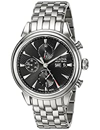 Bulova Accu-Swiss Men's Gemini 42mm Steel Bracelet & Case S. Sapphire Automatic Black Dial Watch 63C113