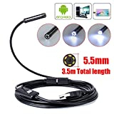 Zipom USB Endoscope Inspection Camera 5.5mm Android Borescope Inspection HD Camera Waterproof 6 Adjustable LEDs USB Android Borescope with OTG and UVC Function (5.5mm-3.5M)