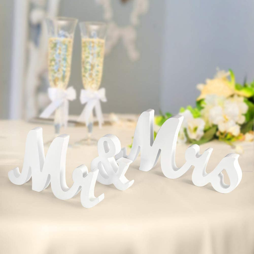 IDEALHOUSE Mr and Mrs Wood Sign, Exquisite Big Size Mr & Mrs Wooden Letters Perfect for Wedding Sweetheart Table Decorations, Photo Props, Party Table, Rustic Wedding Decorations and More(White)
