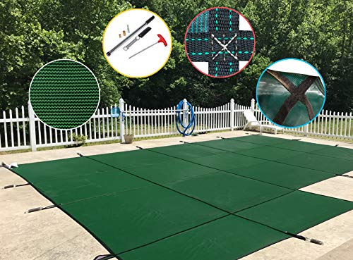 Water Warden Safety Pool Cover for 18' X 36' in Ground Pool, Green Mesh, Left Side Step ()