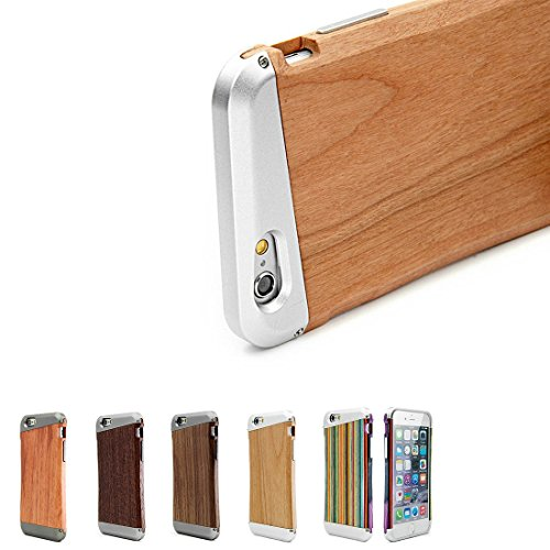Sugelary Natural Wood+ Aluminum Hybrid Hard Protective Cover and Cases for iPhone 6 & iPhone 6s Cell Phone Cases , Ultra Slim and Original (cherry wood)