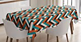 Ambesonne Mid Century Tablecloth, Herringbone Pattern in Retro Colors Simple Funky Design of Classic Mosaic Tile, Dining Room Kitchen Rectangular Table Cover, 60 W X 90 L Inches, Cinnamon Blue